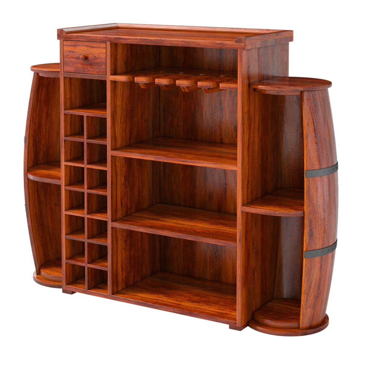 Harrod handcrafted rustic solid wood barrel design home bar cabinet - Solid wood house plans ...