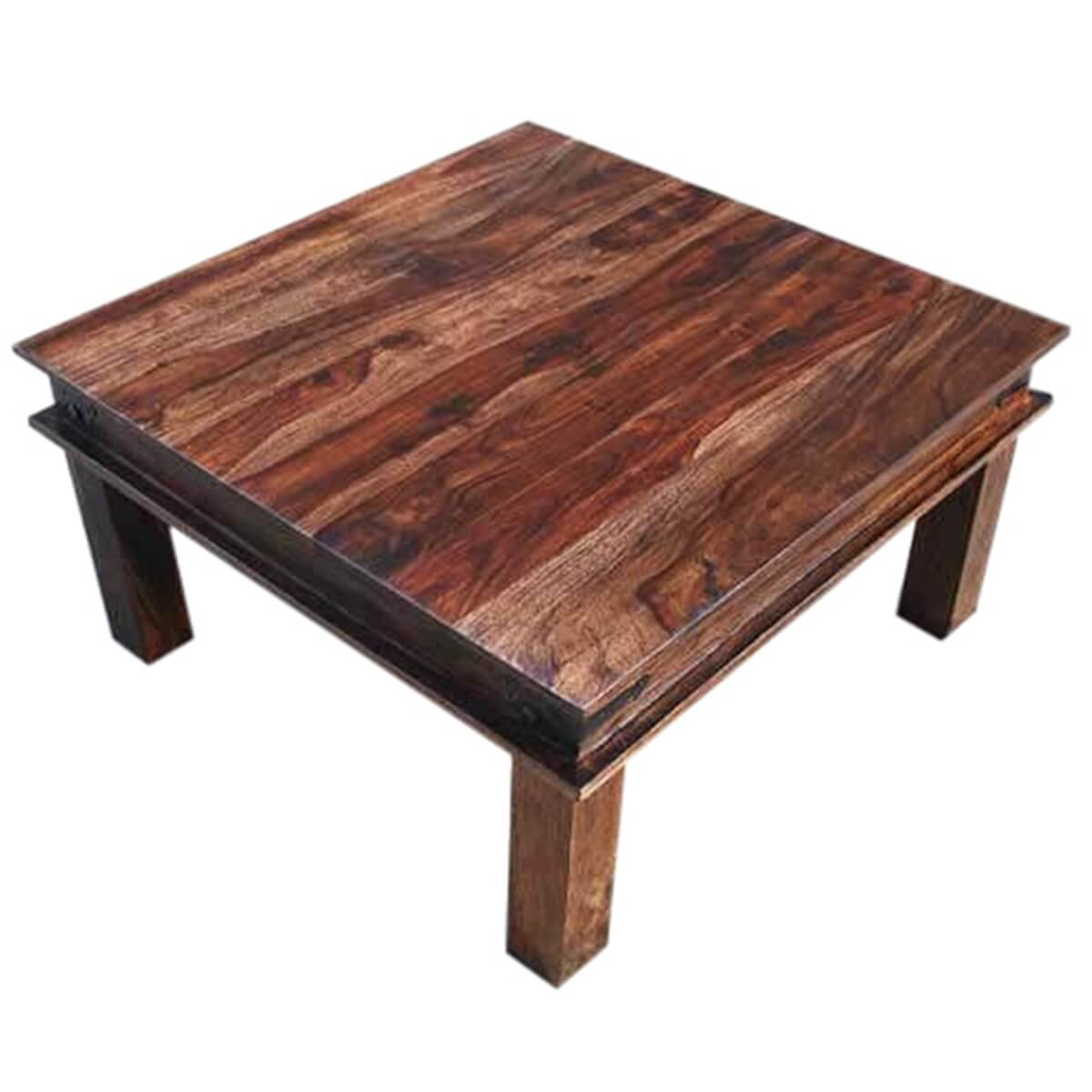 Beautiful Shaker Style Espresso Wood Metal Accents Square Cocktail Coffee Table