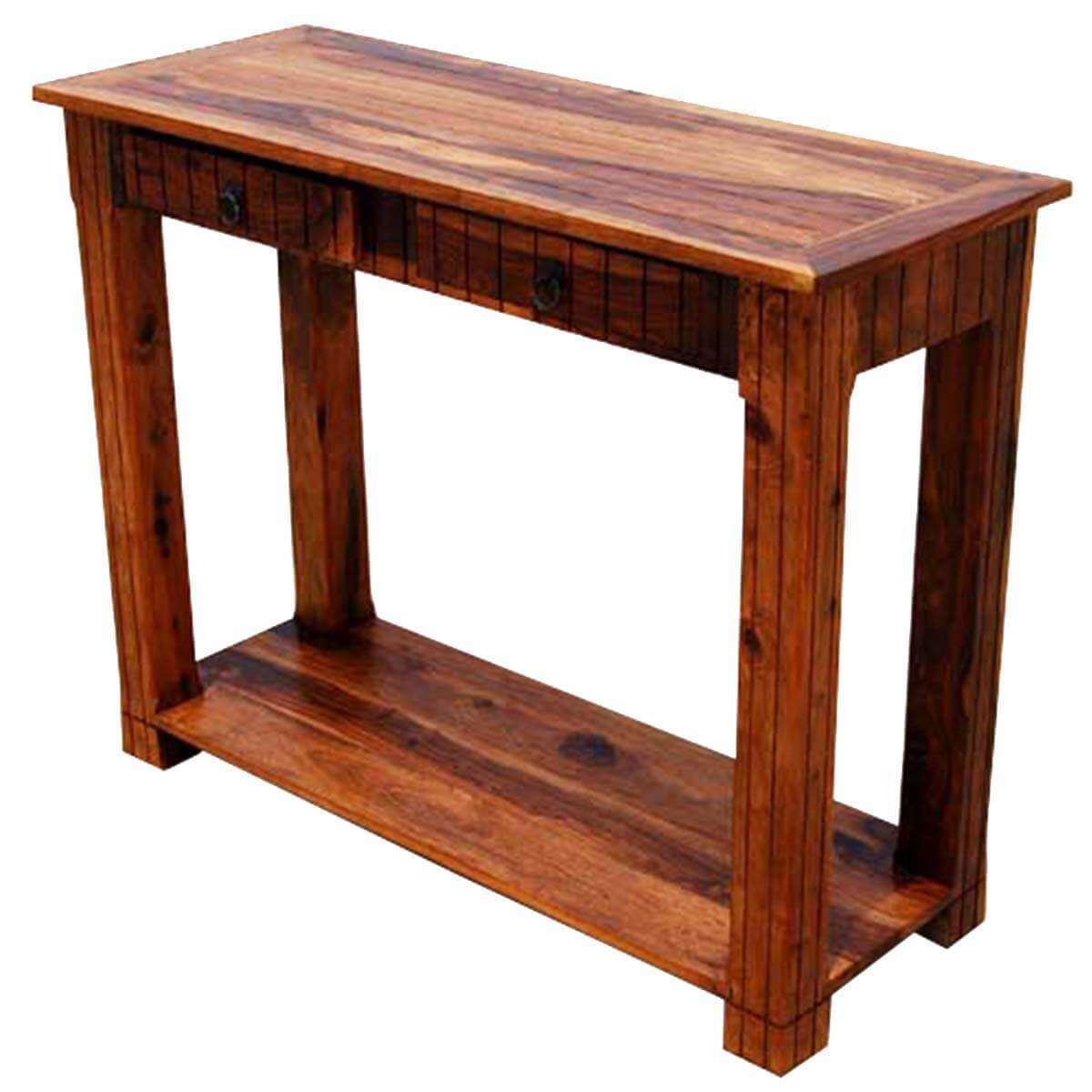 Solid wood 2 storage drawer sofa entryway console table Console tables with storage