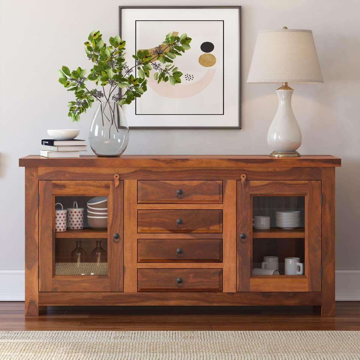 Rustic Glass Door Buffet 4 Solid Wood Sideboard Credenza Cabinet Dining Room