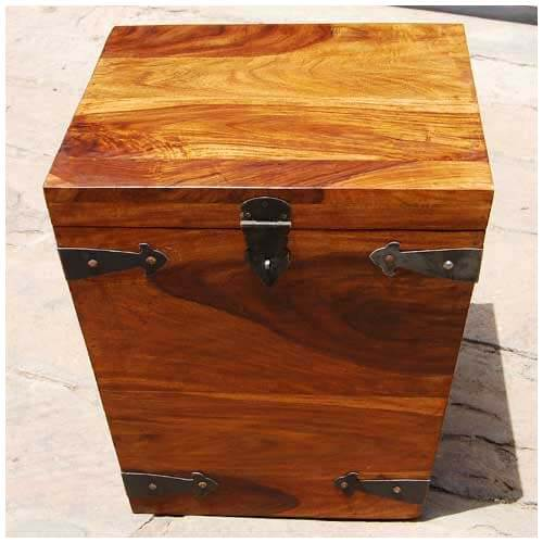 Used Solid Wood Coffee Table: Solid Wood Square Kokanee Storage Trunk Coffee Side Table