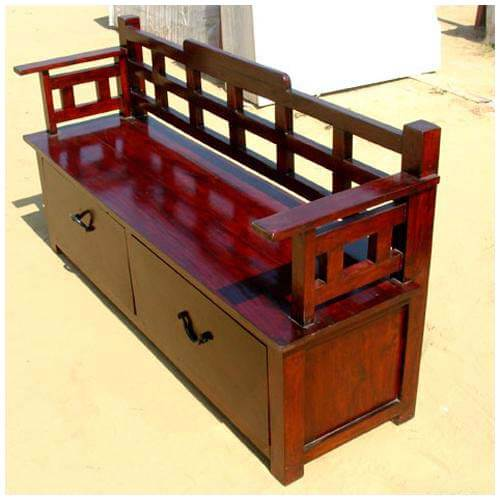 Wood Bench With Drawers ~ Cherry wooden trunk storage drawer box sofa long bench