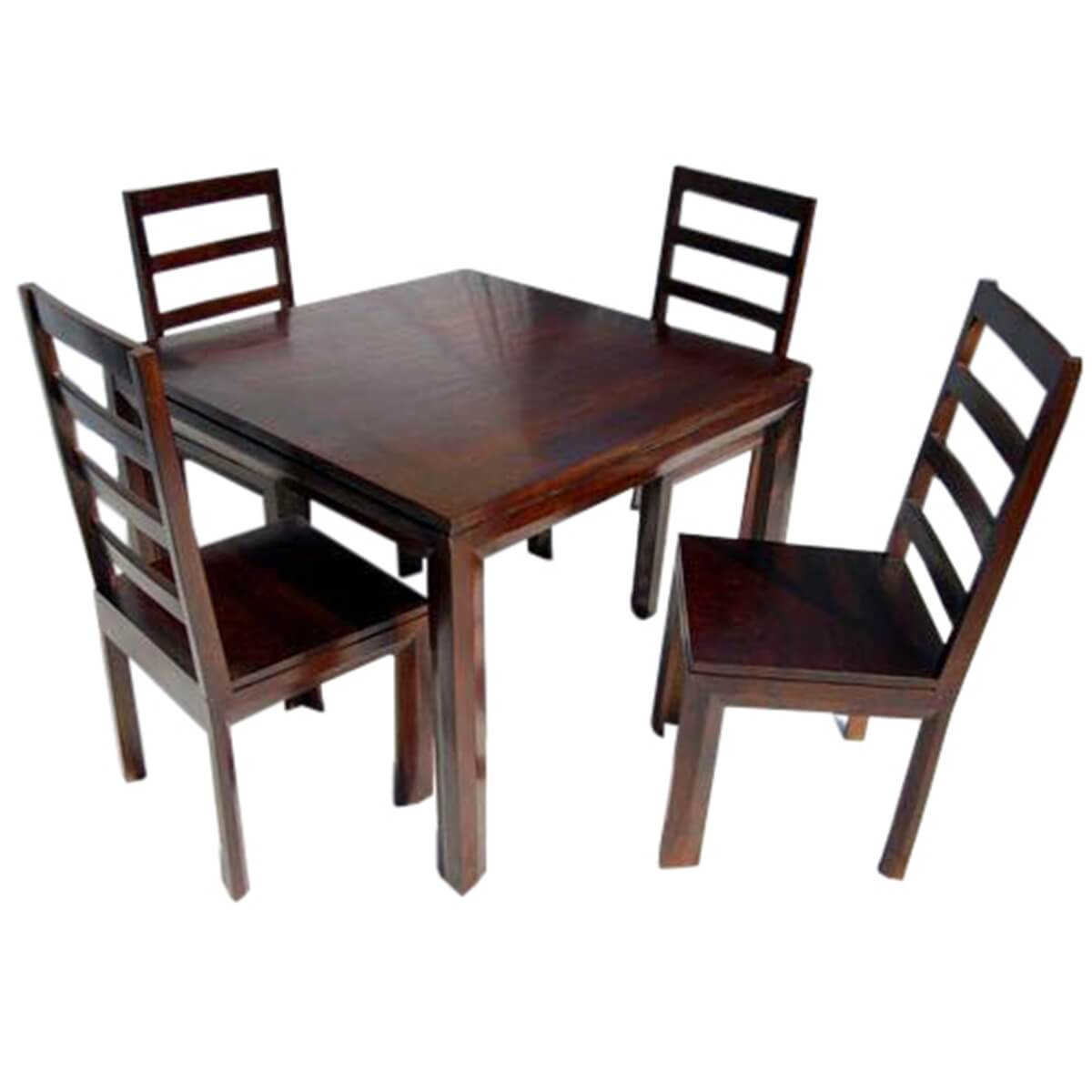 Solid wood transitional dining table and chairs set for Solid wood dining table sets