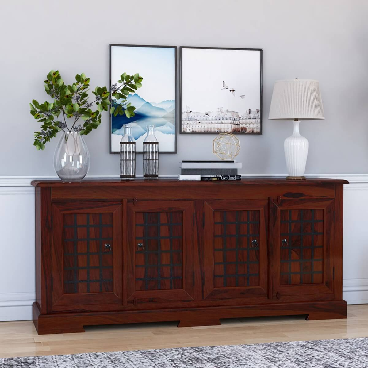 Sierra 4 Door Sideboard Solid Wood Buffet Cabinet w Wrought Iron