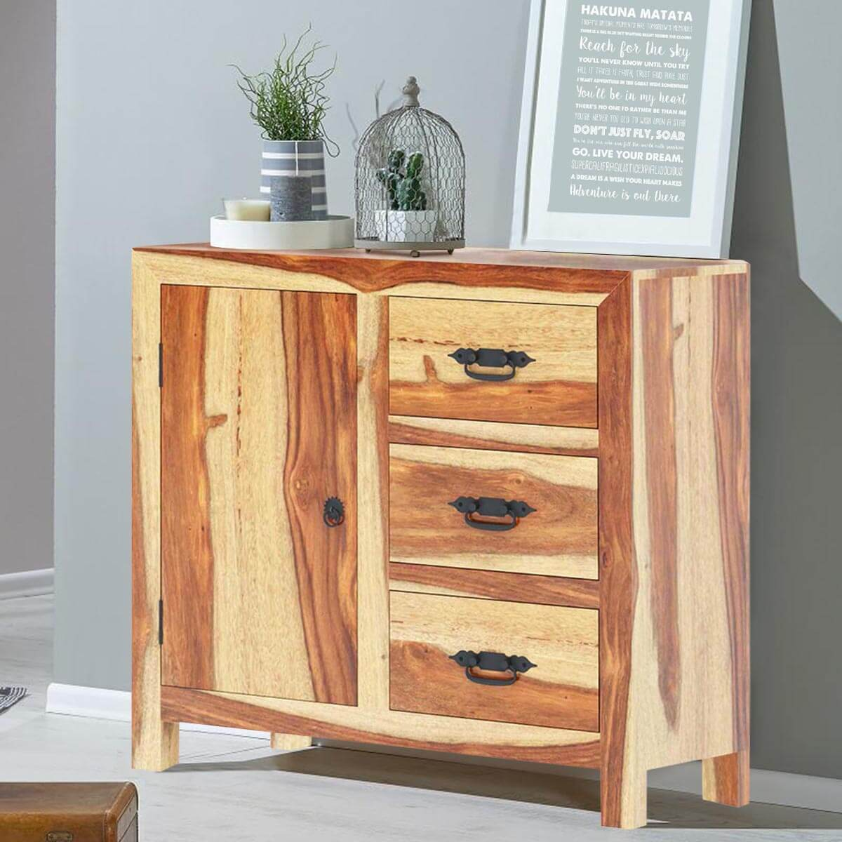 Wood Buffet Cabinet ~ Ostrander rustic solid wood drawer sideboard cabinet