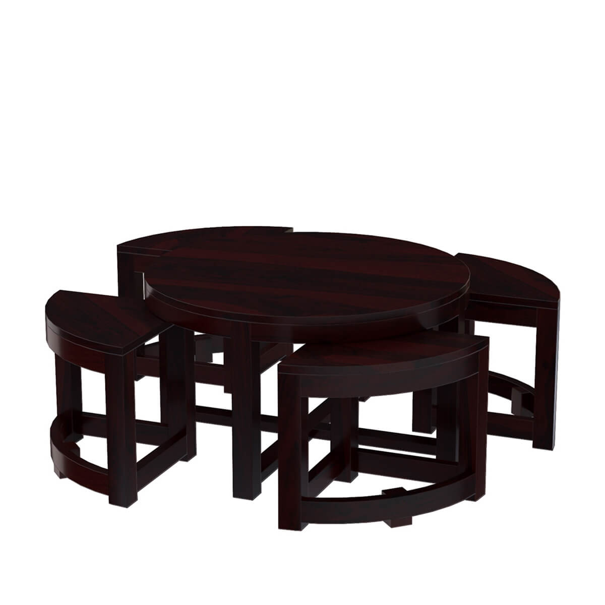 round brown nesting cocktail coffee table with 4 wedge tables