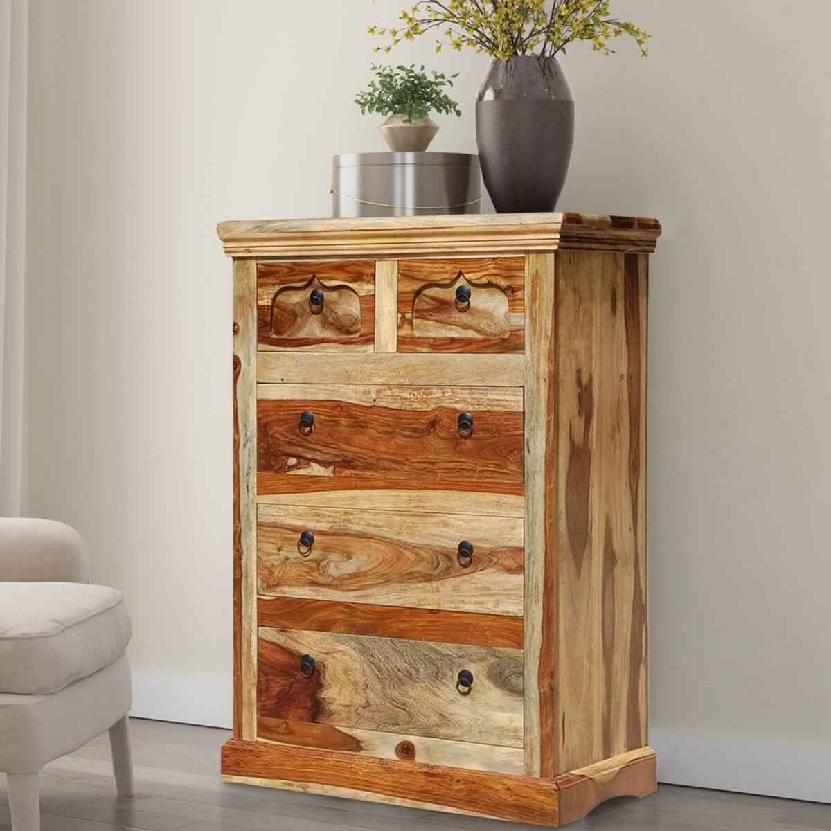 Wood Storage 5 Drawers Dresser Chest Bed Room Furniture