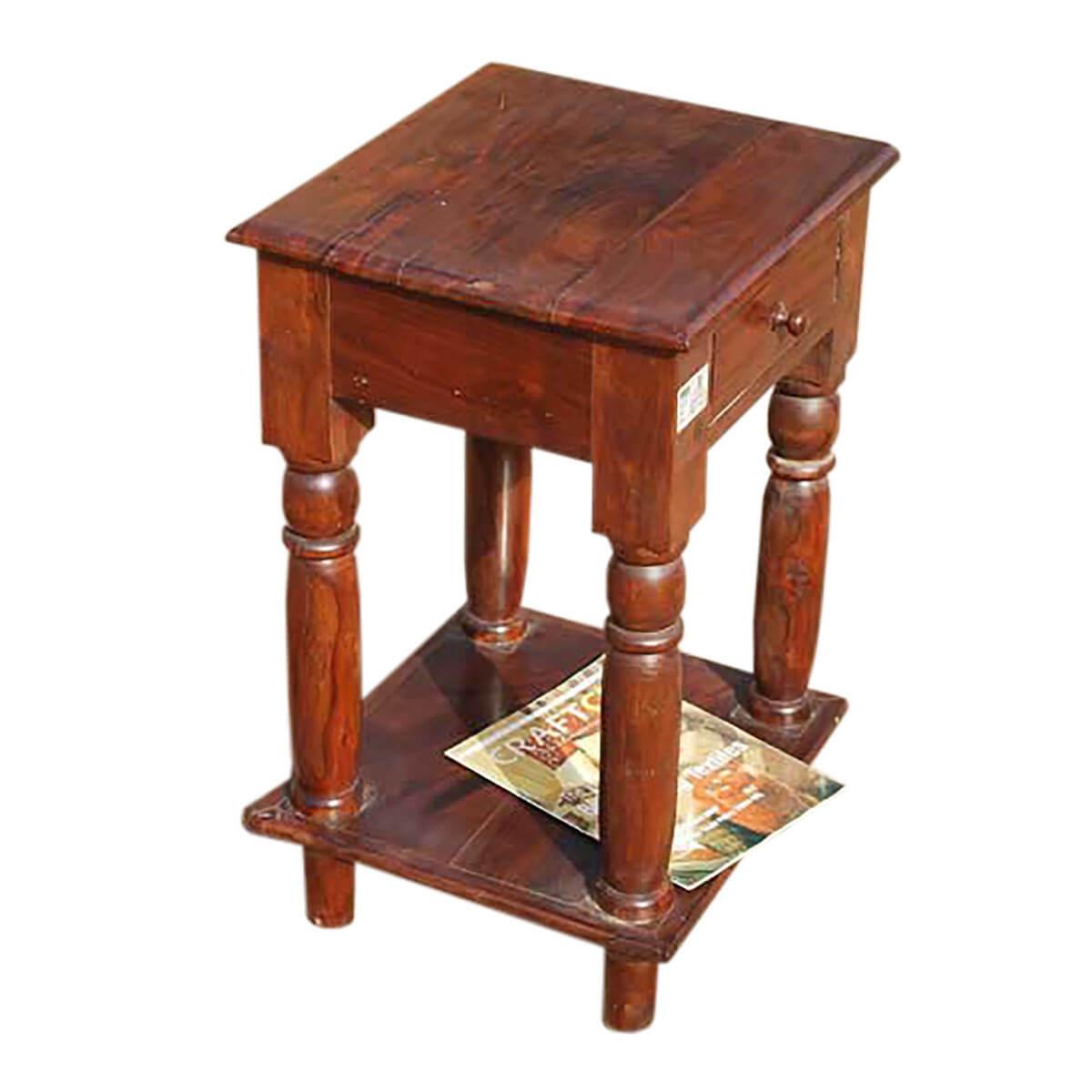 cowles solid wood 2 tier 1 drawer side end table. Black Bedroom Furniture Sets. Home Design Ideas