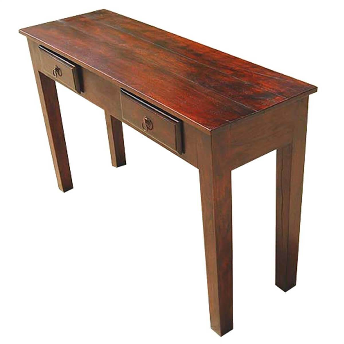 Foyer Console Bench : Wood storage drawers console hall entry way foyer table