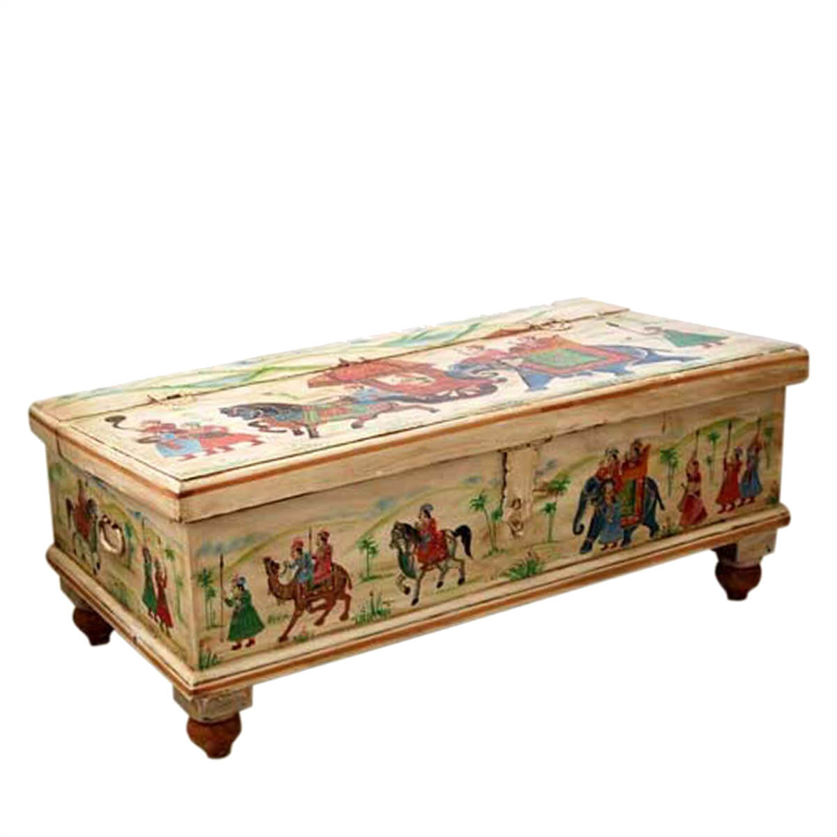 Hand painted storage hope chest wood coffee table large hand painted storage hope chest wood coffee table geotapseo Gallery