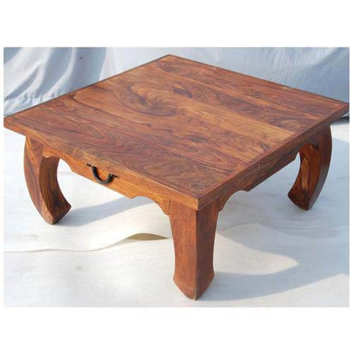 Rustic Square Large Cocktail Opium Coffee Table With