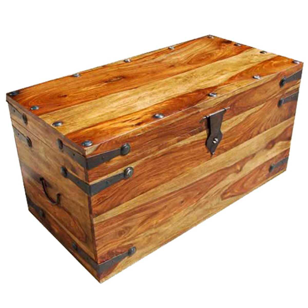Wood Trunks And Chests ~ Solid wood dallas trunk coffee table with wrought iron