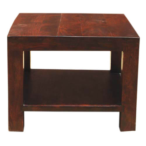 Elegant Solid Wood Square 2 Tier Side Rustic End Table