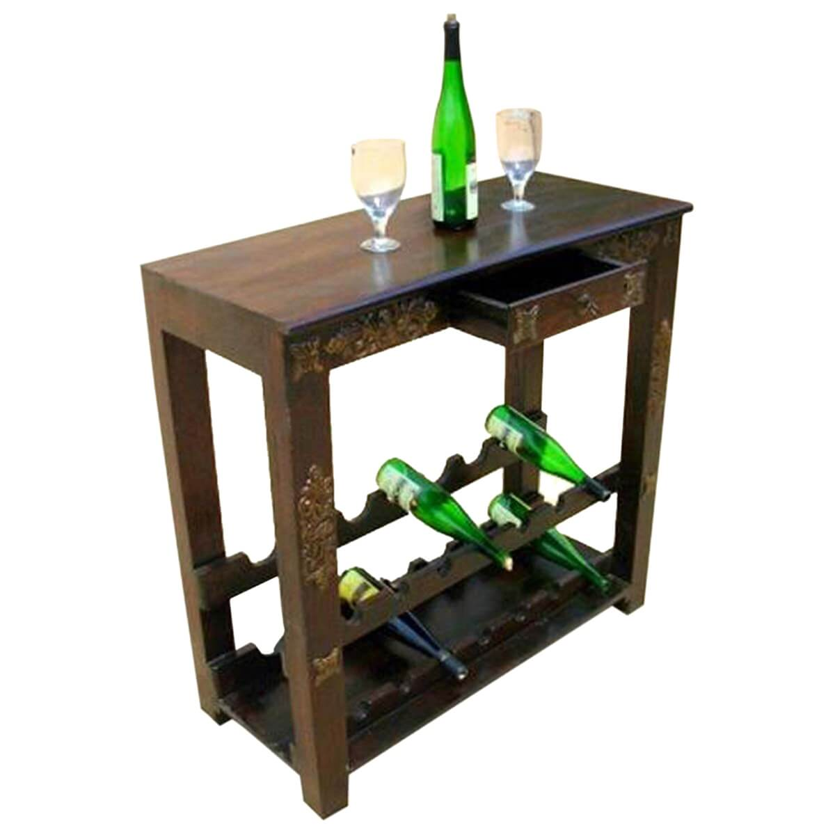 Highvale Antique Brass Inlay Solid Wood Wine Rack Console