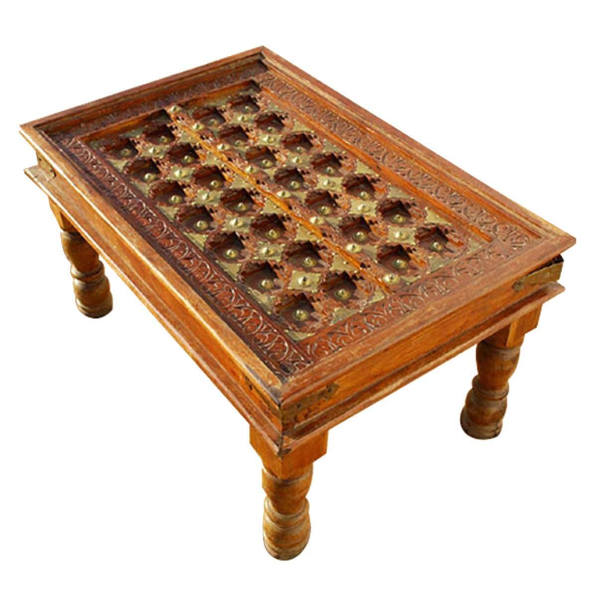 Golden Diamond Heritage Solid Wood Brass Coffee Table