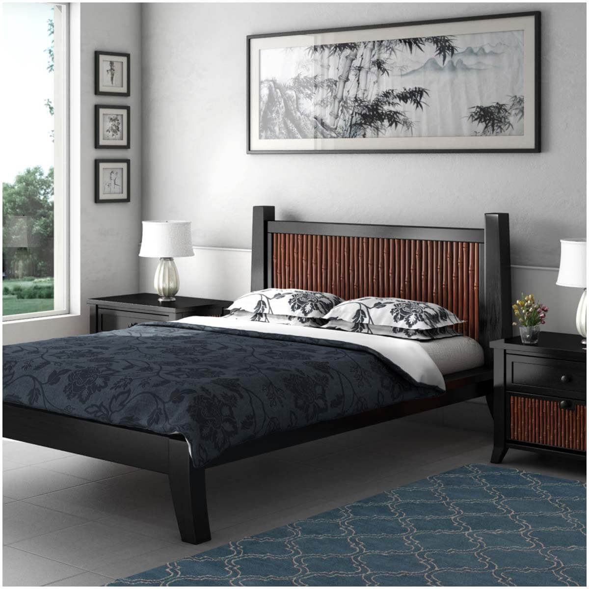 key west bamboo solid wood full size platform bed with headboard. Black Bedroom Furniture Sets. Home Design Ideas