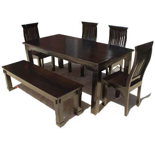 Mediterranean Modern Ebony 6 Person Dining Set with Bench