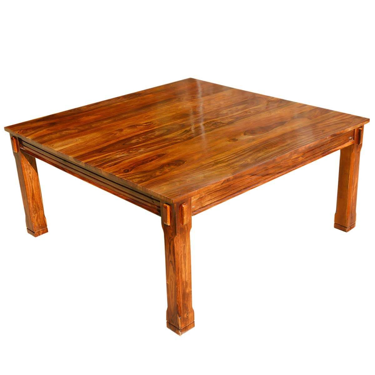 Rustic solid wood square block legs dining table for Solid wood dining table