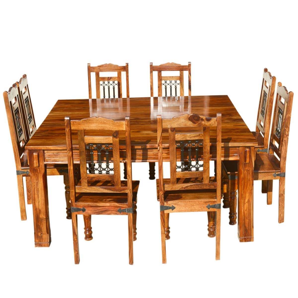 Solid Wood Rustic Square Dining Table Chairs Set