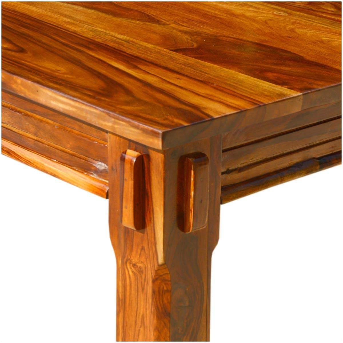 Solid Wood Dining Table Chairs: Solid Wood Rustic Square Dining Table Chairs Set