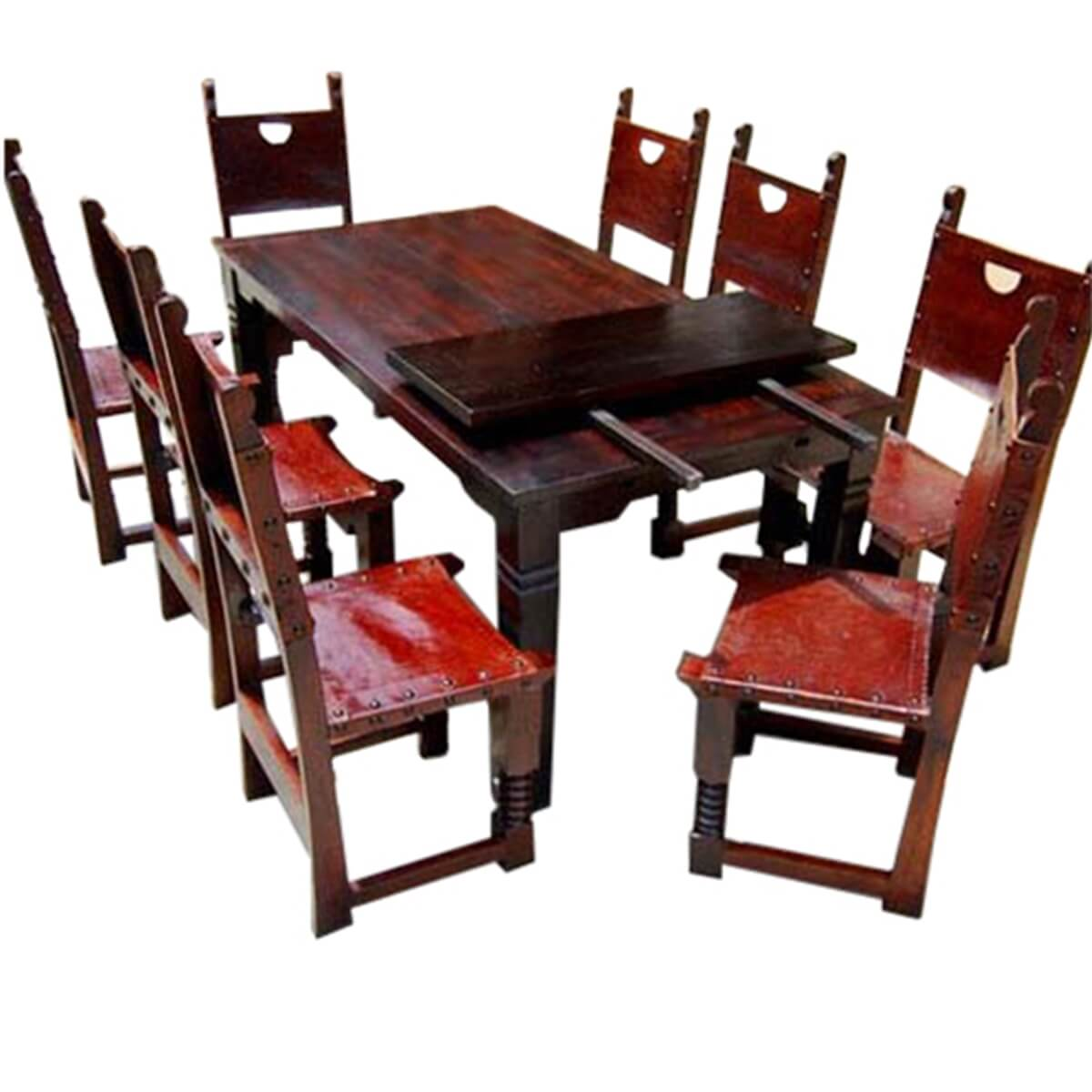 9 pc rustic solid wood dining table and chair set w extension. Black Bedroom Furniture Sets. Home Design Ideas