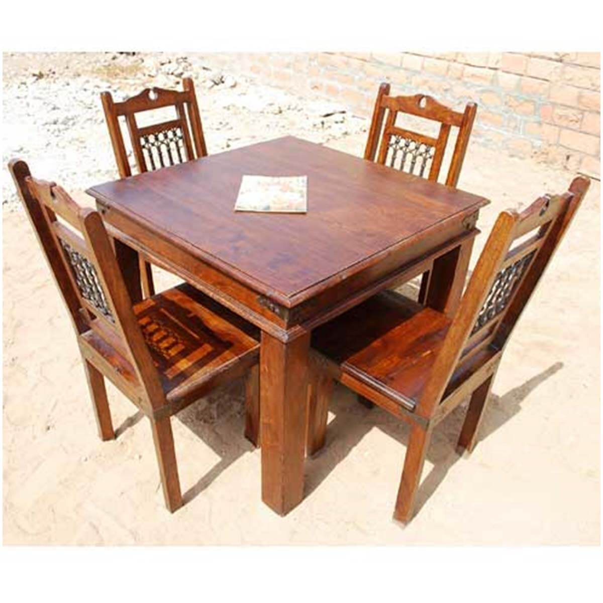 Wooden square dining table - Grogan Rustic Solid Wood Square Dining Table