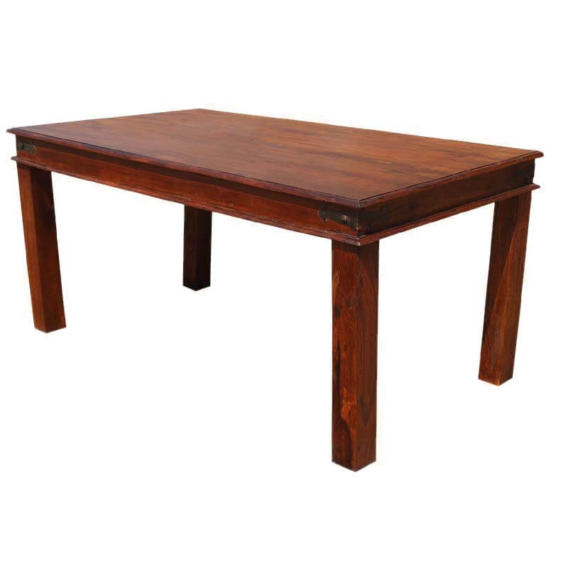 Fannin solid wood handmade rustic dining room table for 6 for Unique wood dining room tables