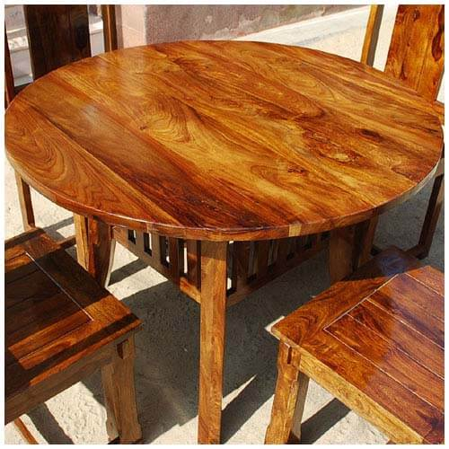 Transitional Dining Room Table: Santa Cruz 5pc Round Transitional Dining Room Table Chair Set