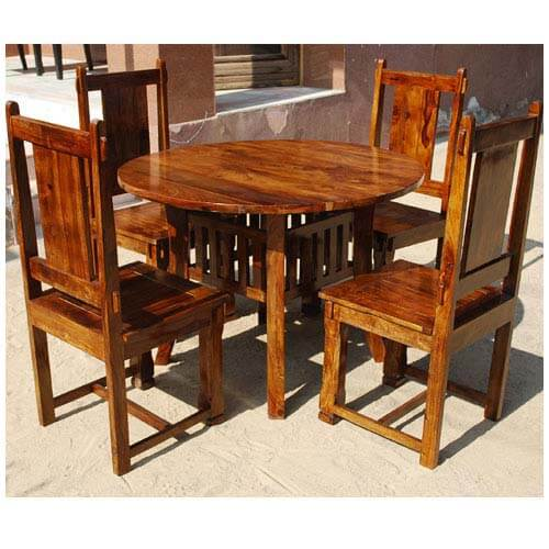 Transitional Dining Room Table: Santa Cruz 5pc Round Transitional Dining Room Table Chair Set