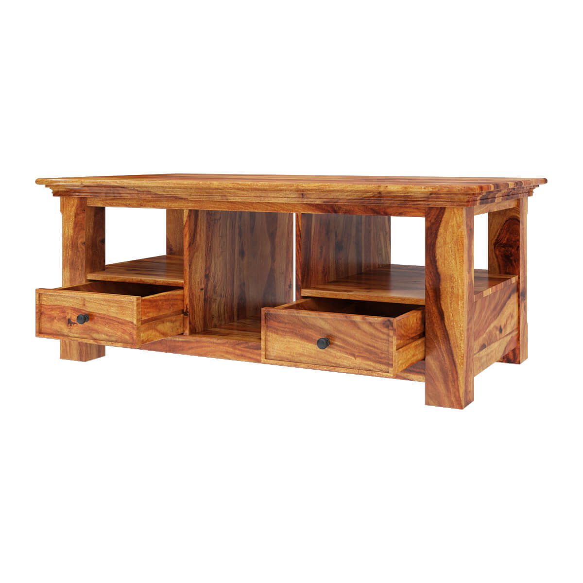Priscus midcentury modern style solid wood rustic coffee table for Modern chic coffee tables