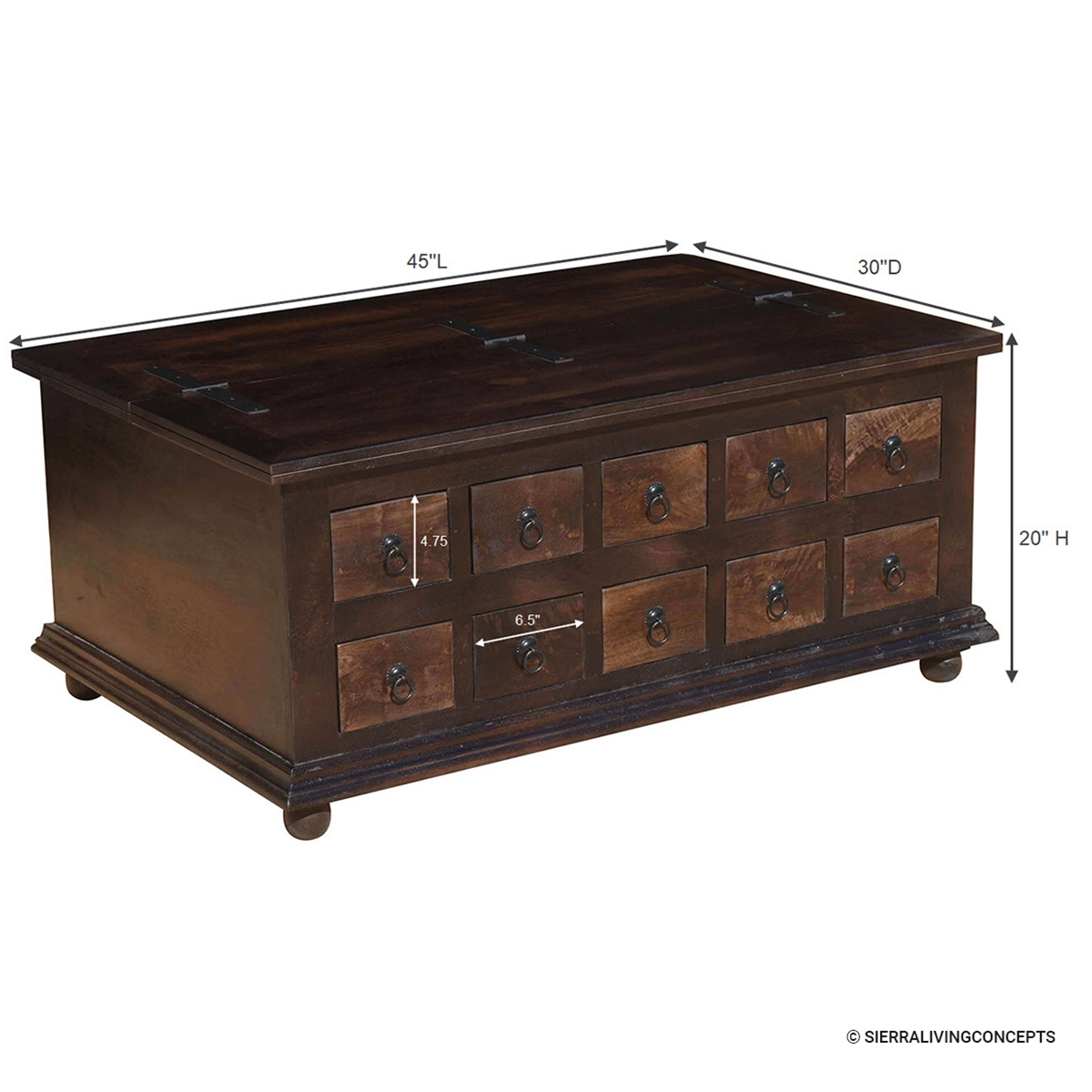 Wood Storage Coffee Table with 10 Drawers