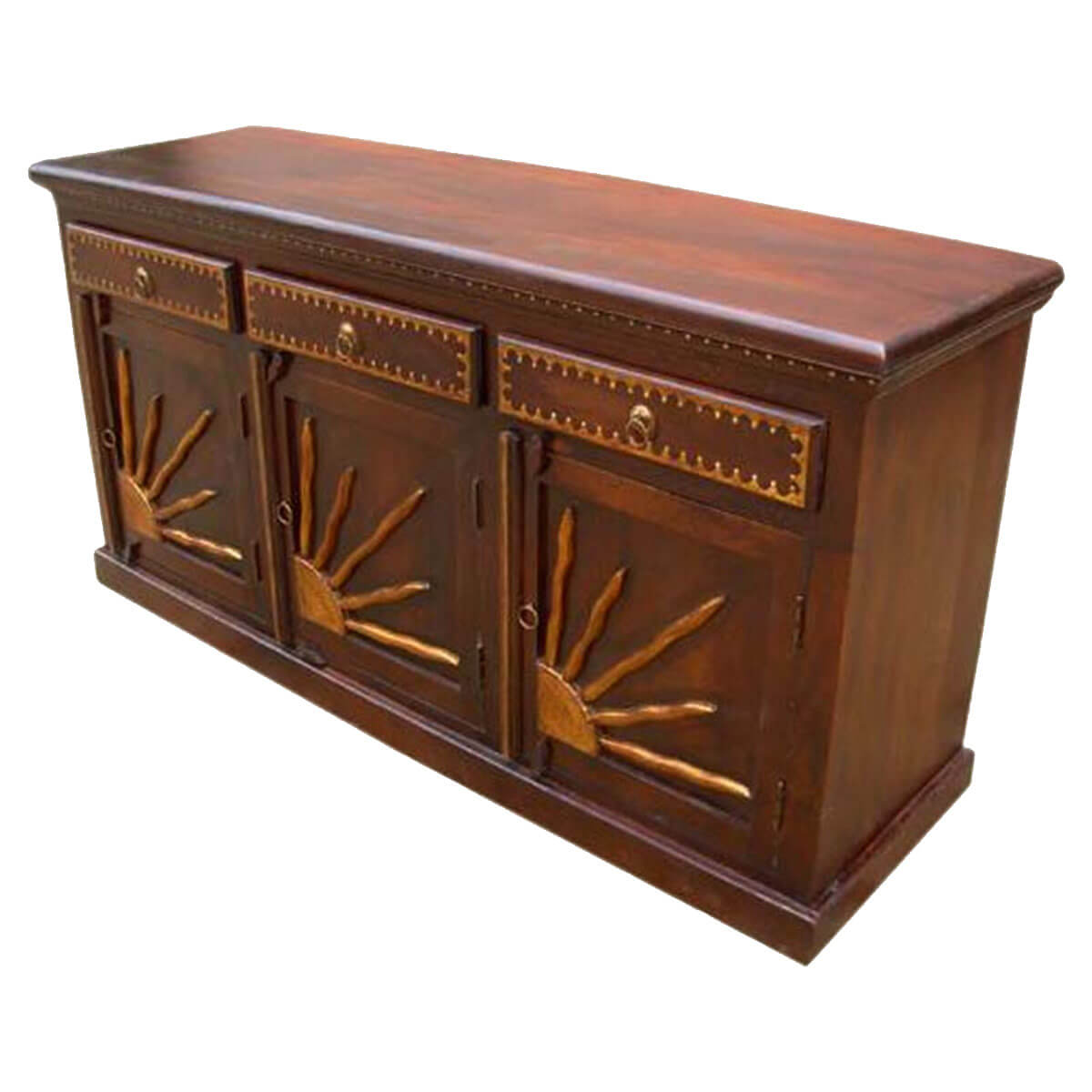 Santa fe brass sunrise dining room drawer sideboard cabinet