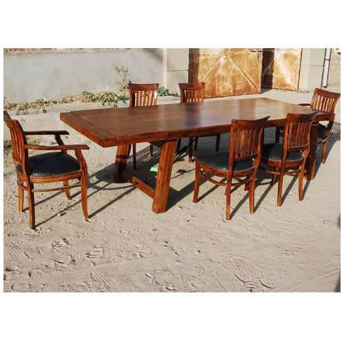 Sierra Contemporary Barrel Back Chairs Dining Table Set W Extension