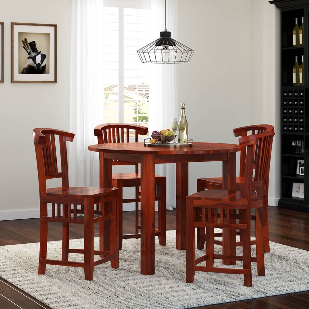 5 pc contemporary counter height dining table and