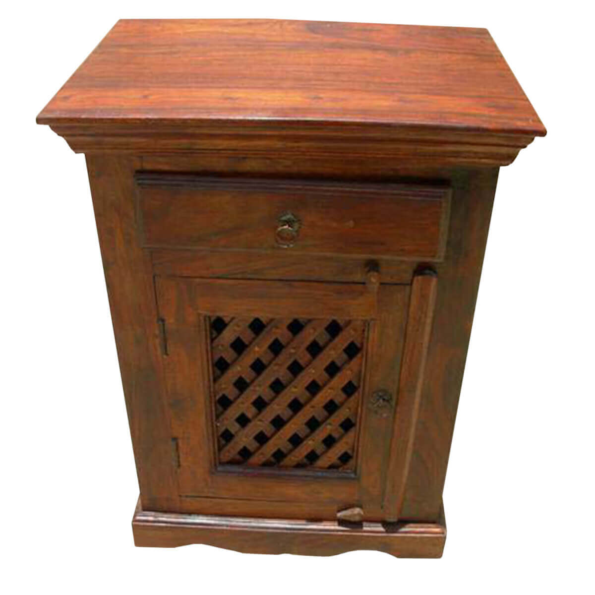 Wood Side Tables With Storage ~ Solid bed side end storage table cabinet wood lattice