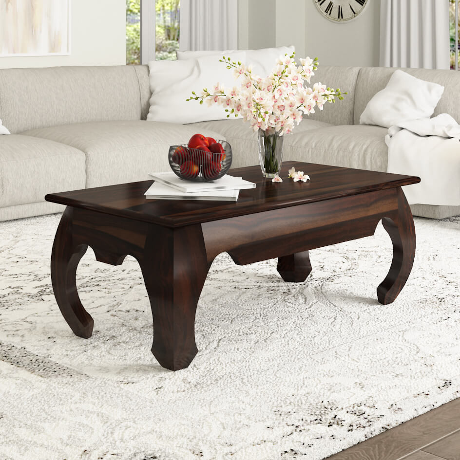 solid natural rustic wood coffee cocktail sofa table