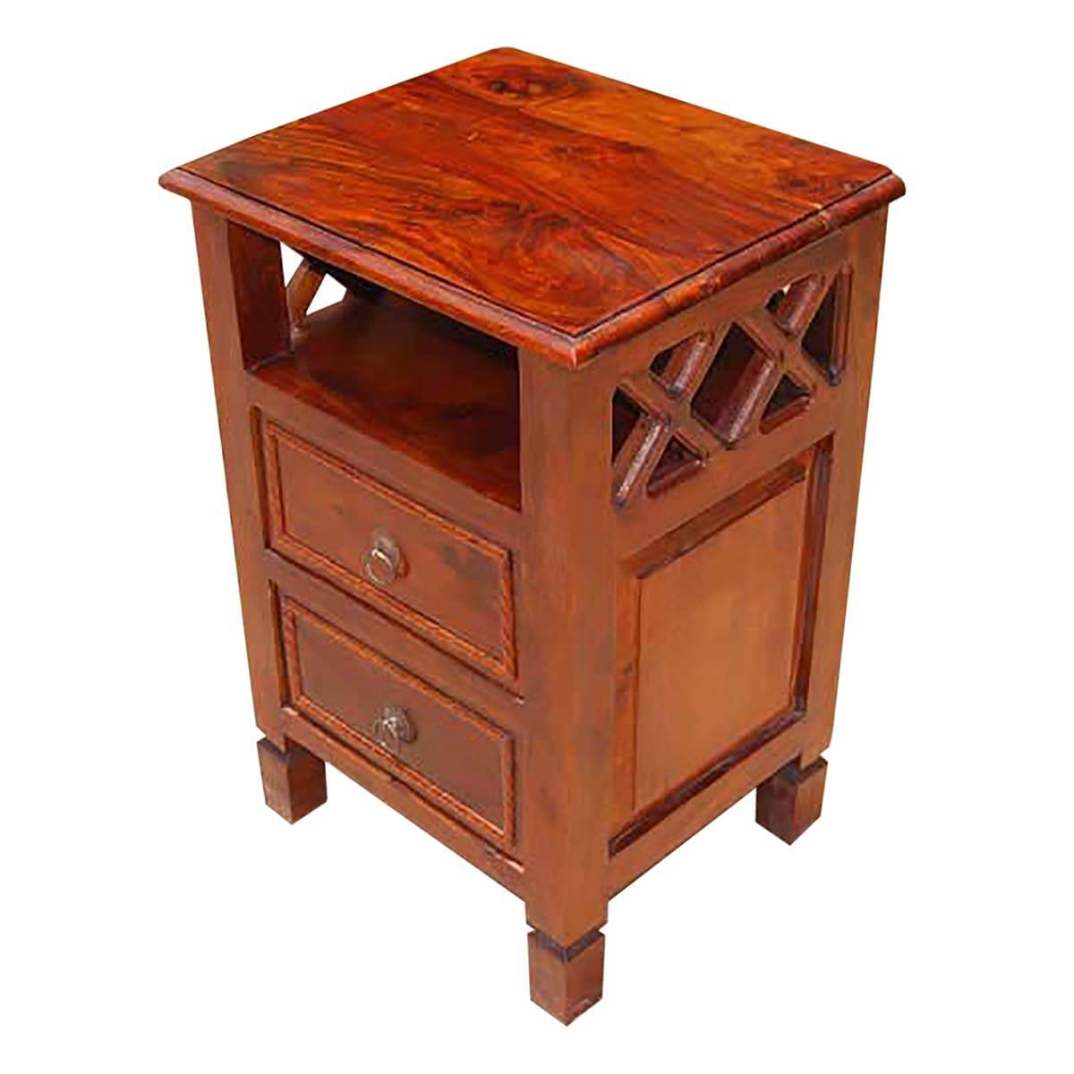 Solid wood 2 storage drawers side end table night stand for End tables with drawers