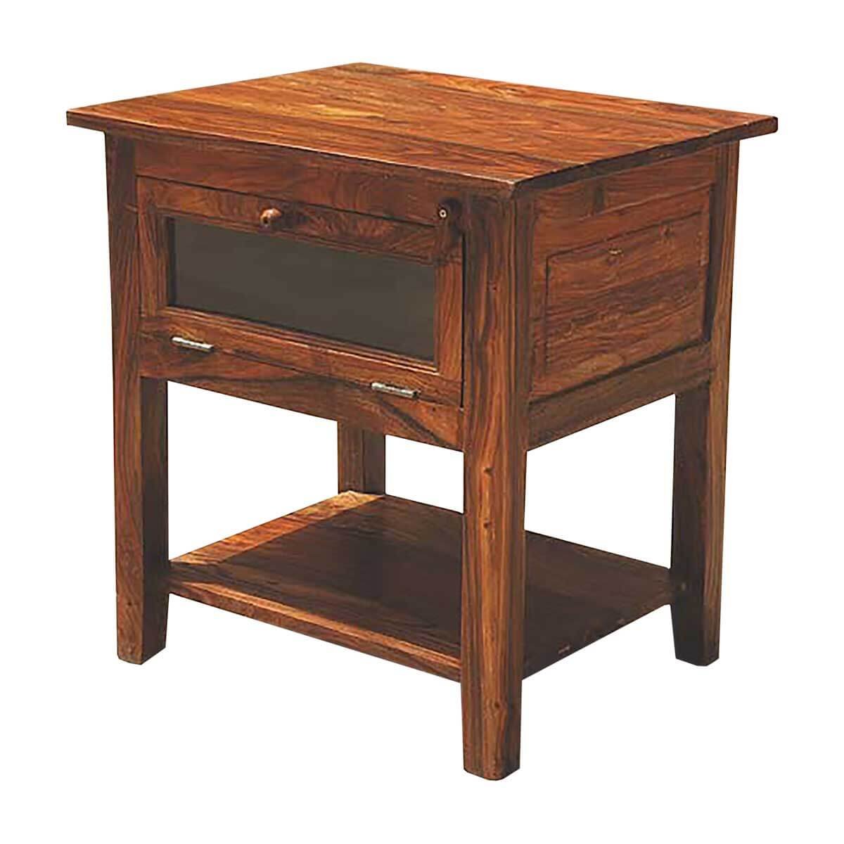 Solid wood way open side end table plant night stand
