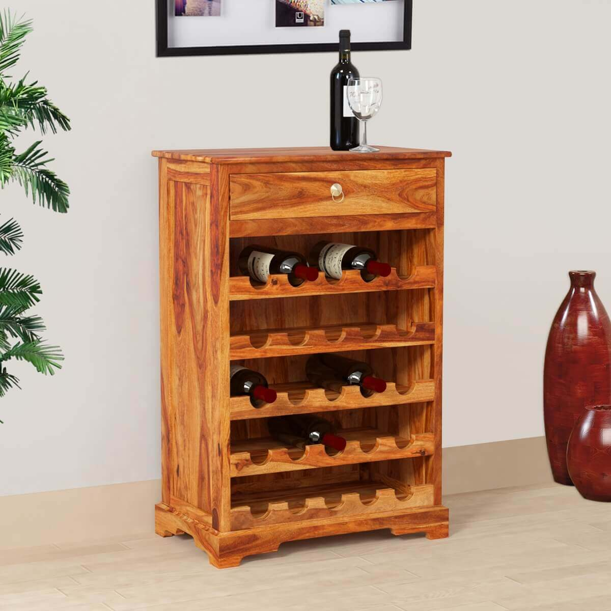 Rustic Solid Wood 25 Bottles Storage Liquor Wine Rack Mini Bar