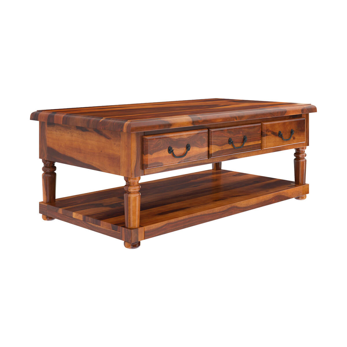 Solid Wood Coffee Table With Drawers: Solid Wood 3 Drawer Baluster Coffee Table