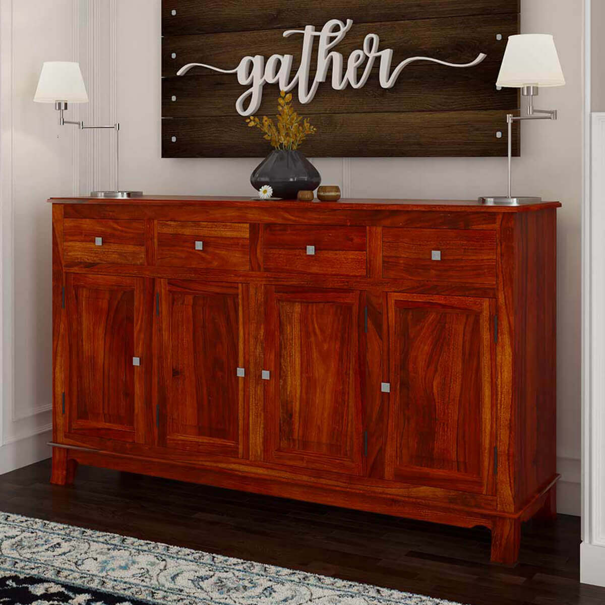 Rustic Indian Rosewood Storage Chest Sideboard & Buffet Cabinet