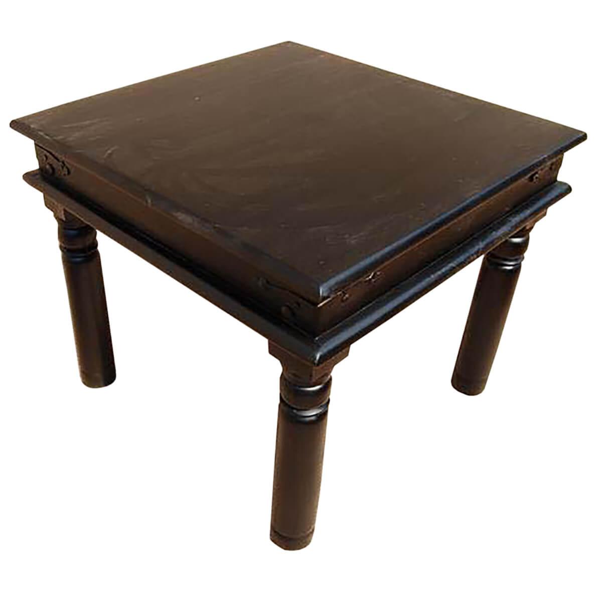 Black wood square end corner side table