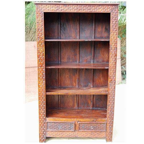 Mango Wood Carved 4 Shelves 2 Drawers Armoire Bookshelf