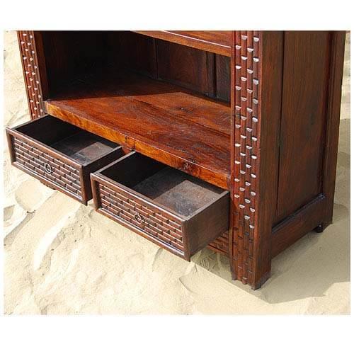 Mango Wood Carved 4 Shelves 2 Drawers Armoire Bookshelf