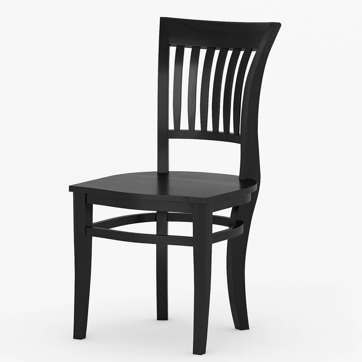 Black Solid Wood Kitchen Chairs