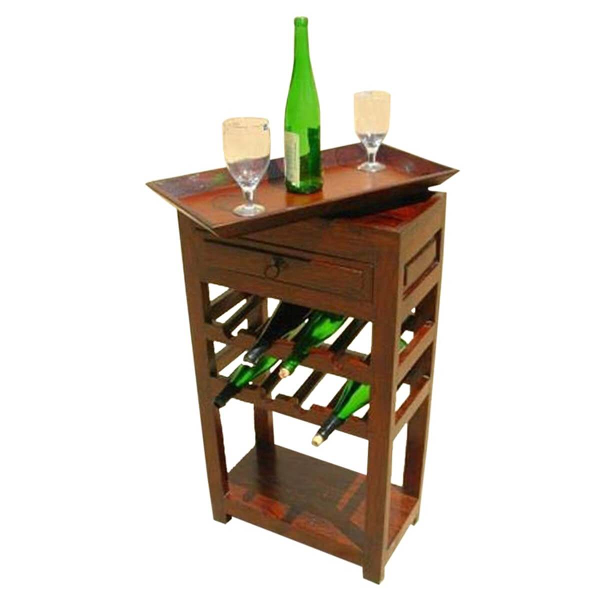 Superb Solid Wood Liquor Bottle Storage Wine Rack Serving Tray