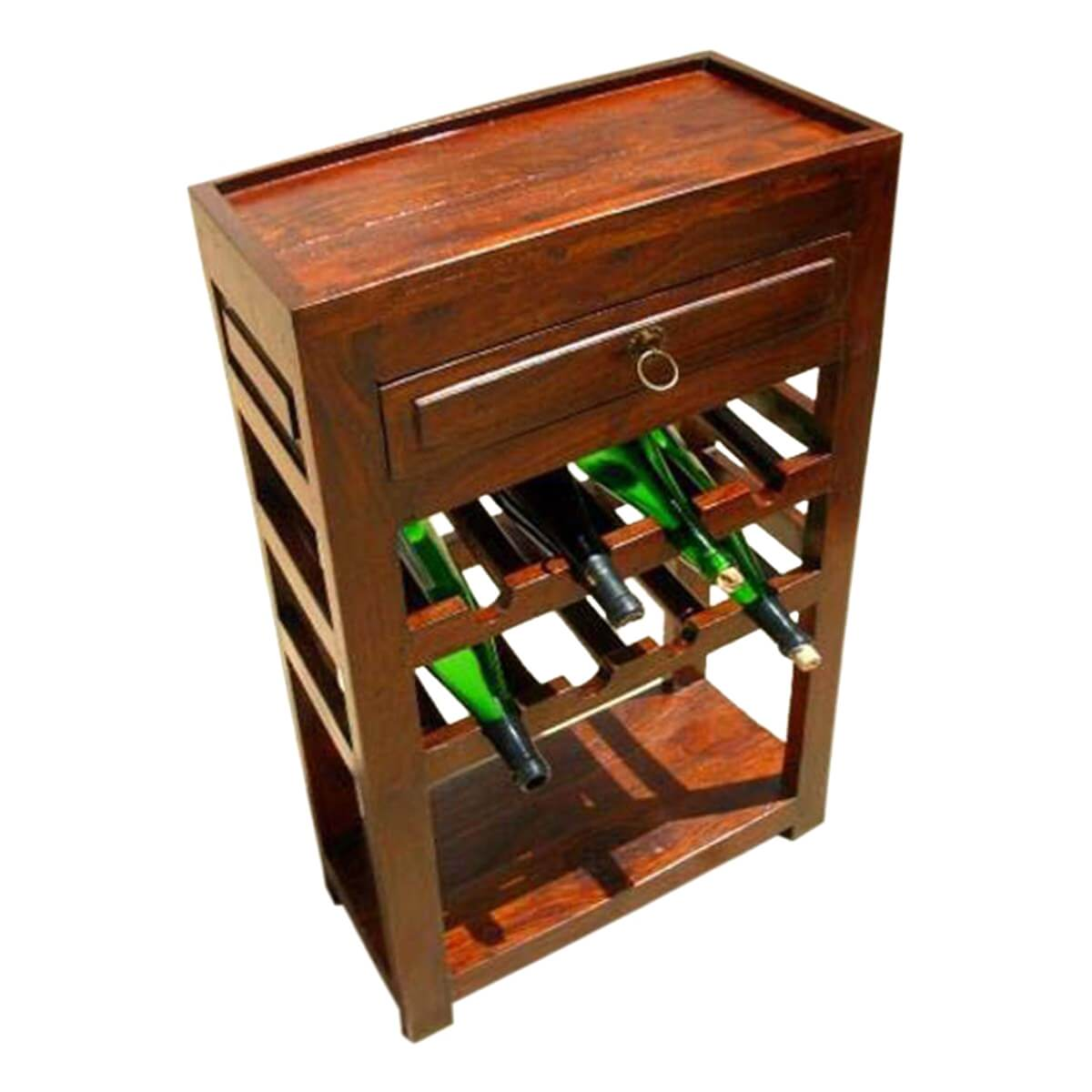 Solid Wood Liquor Bottle Storage Wine Rack Serving Tray