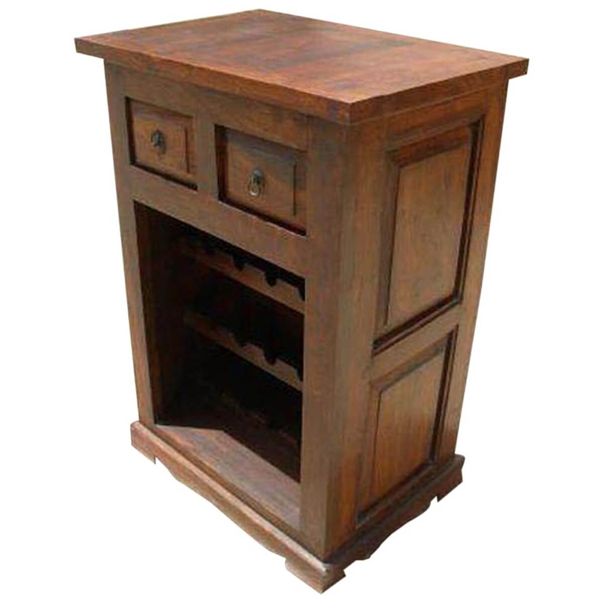 Renelso solid wood wine bottles rack drawer cabinet