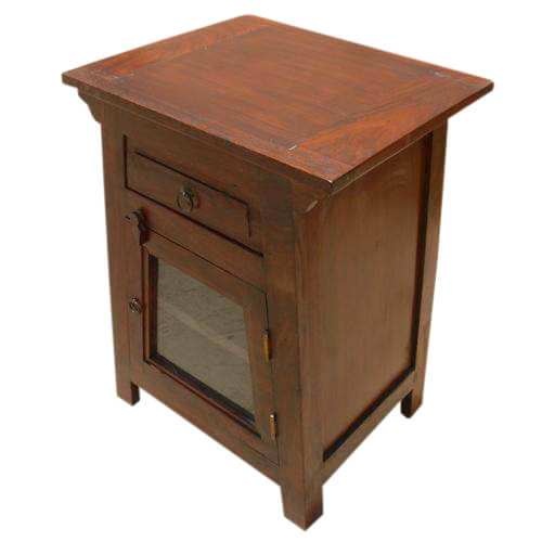 Blissfield Solid Wood Glass Door 1 Drawer Nightstand
