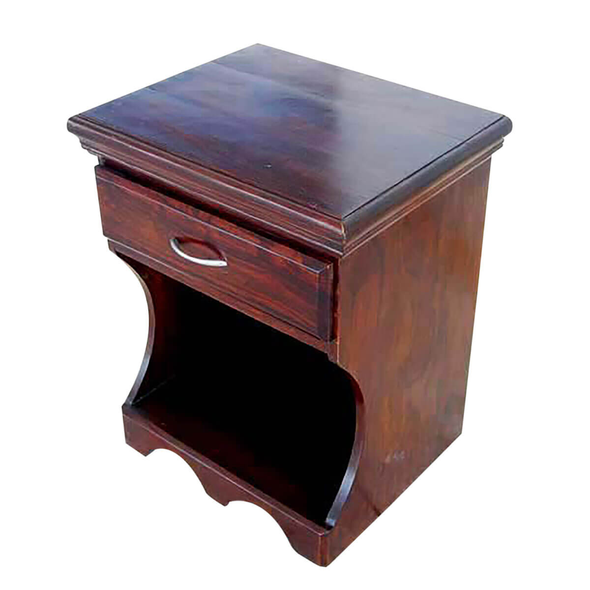 Solid wood storage drawer side end table magazine rack for Large side table with drawers